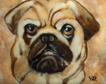 One of a Kind 3D Needle Felted Pug Portrait