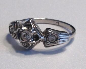 Rhinestone Ring Clear Rhinestones Size 9