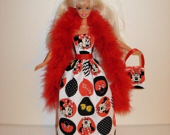 Handmade barbie clothes Beautiful Minnie gown with boa and bag 4 barbie doll