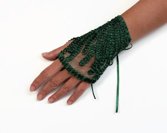 Emerald Green Wrist Corsage, Evening Bridal Cuff, Hand Charm, Fingerless Glove, Bridesmaids Accessory Gift Satin Ribbon