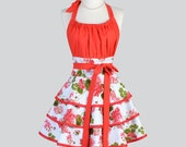 Flirty Chic Apron - Red and Green Geranium Floral Feminine Flirty Skirt  Sexy Retro Womens Apron Cute Flirty Chic Apron