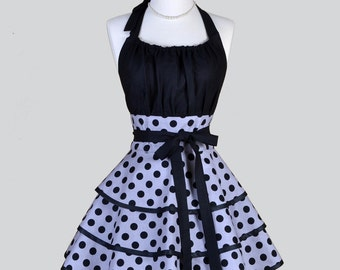 Flirty Chic Apron / Black bodice and Silver Grey with Black Polka Dots Three Layer Flirty Skirt Cute Sexy Retro Womens Apron