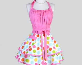 Flirty Chic Apron - Confetti Pink Polka Dots in Pinup Style Retro Womans Cooking Apron Makes Great Birthday Gift for Her