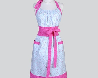 Cute Kitsch Retro Apron . Full Kitchen Womens Apron in Vintage Pink Rose Lattice on Light Blue Handmade Womans Chef Cooking Apron