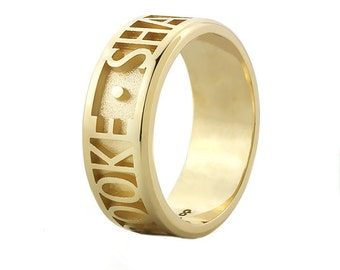 Personalized Name/Message Ring in 14k Gold, 6mm