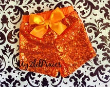 Girls ORANGE Sparkle Sequin SHORTS- girls birthday outfit-girls sequin shorts- toddler shorts-baby girl shorts, HALLOWEEN, ready to ship