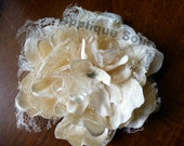 NEW Shabby Lace & Fabric Flowers - Dark Cream - Great for Rustic Decorating, Home Decor, Etc