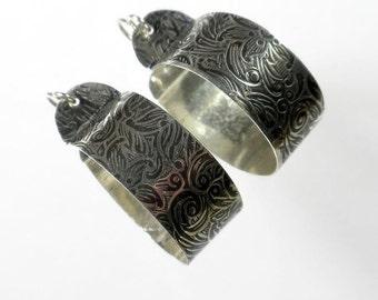 Large Hoop Earrings, Sterling Silver Hoop Earrings, Oxidized Hoop Earrings, Pattern Hoop Earring