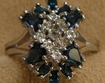 Panetta Sterling Sapphire Rhinestone Ring