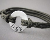 Bracelet, Small Aluminum Disk with Stamped initials and adjustable Nylon Paraline Cord, Custom Initials, Custom, Men's or womens, boyfriend