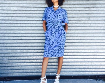 Vintage Blue Abstract Print Dress