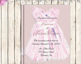 Water color Baby Girl Baptism Customized Personalized Invitation  Digital Download
