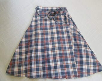 Vintage PlaidSkirt - No Brand Name - A-line Style - Size M/L Medium Large - Wrap Around with Ties