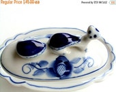 VALENTINES SALE Vintage Gzhel, Russian Blue and White Porcelain Vanity Box, Otter Figural Handle, Folk Art, Hand painted, Figural, Collectib