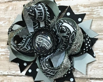 San Antonio Spurs Hair Bow, NBA Basketball Bow, Baby Headband, Sports, Infant Headband, Newborn Headband, School Bow, Baby & Toddler