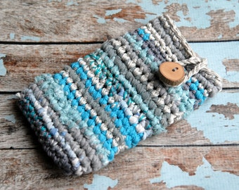 Crochet phone case with a wooden button, Recycled fabric yarn phone sleeve, Made to order