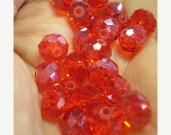 50% OFF - 10 pcs RED Rondelle Glass Beads