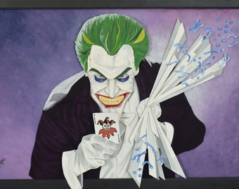 Suicide Squad Joker Mixed Media Art Felt Portrait Batman 24x36in