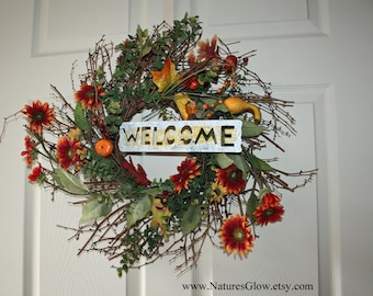 Autumn Twig Wreath, Thanksgiving Wreath, Halloween Decor, Rustic Fall Wreath, Fall Decor, Autumn Wreath, Welcome Sign, Rustic Twig Wreath