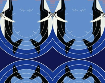 Birch Fabrics - Maritime Collection - Love on the Richter Scale in Blue Organic