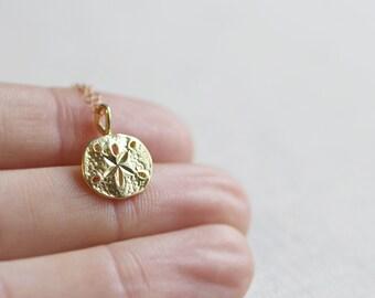 Gold Sand Dollar Necklace | 14kt Gold Filled