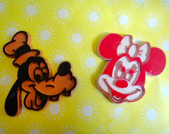 Set of Vintage 1970's Disney Magnets - Minnie Mouse and Goofy