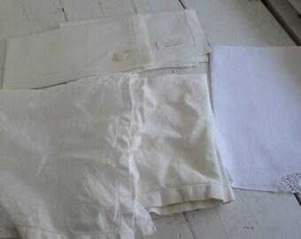 Vintage White Linen Napkins Set of 5