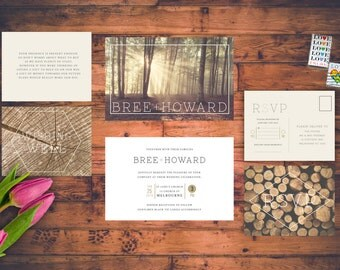 Modern Rustic Country Wedding Invitation Set