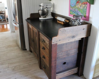 Rustic Wood Cabinet - Kitchen Cabinetry - Reclaimed Wood - Bakers Table - Pastry Table - LOCAL ONLY - Organization - Custom Woodwork