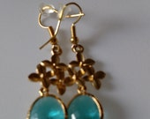 Aquamarine Briolete with Gold Rodium Cherry Blossoms Earrings 2 inches long