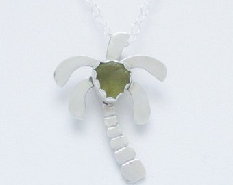 Sea Glass Jewelry - Sterling Olive Green Sea Glass Palm Tree Necklace