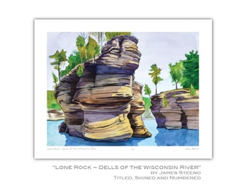 Lone Rock – Dells of Wisconsin River Watercolor Art Print by James Steeno (Rock Formation)