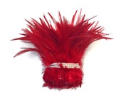 Rooster Feathers, 1 Yard - RED Strung Chinese Rooster Saddle Wholesale Feathers (bulk) : 4022