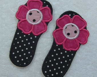 Flip Flops Fabric Embroidered Iron on Applique Patch Ready to Ship