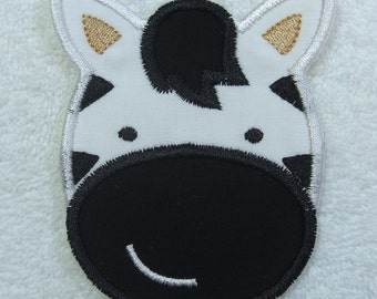 Zebra Fabric Embroidered Iron On Applique Patch Ready to Ship