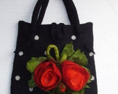 Reserved for Lynn-20% off - Romantic Polka Dot Wool Felted Bag with Red Rose Flowers Bouquet