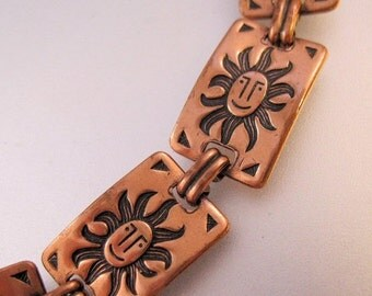 15% OFF SALE Vintage Sun Solid Copper Link Bracelet Jewelry Jewellery