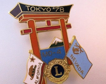 BIGGEST SALE of the Year LIONS Club 1978 Tokyo California Nevada Pin Enamel Vintage Collectible Jewelry Jewellery