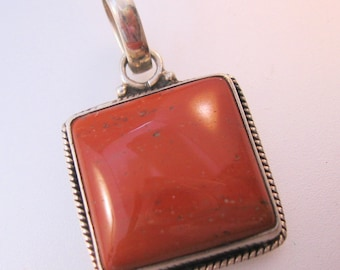 Vintage Jasper Sterling Silver Pendant Square Jewelry Jewellery