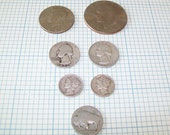 7 Vintage Coins, Liberty Dimes, Buffalo Nickel, Eisenhower Dollar Coin and more