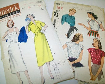 2 Patterns, 1940s, 1950s, collectable, one is UNCUT