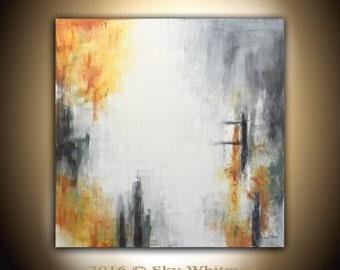 Original Large Modern Contemporary Art Charcoal Gray Burnt Amber Abstract Acrylic Painting 36x36 by Sky Whitman