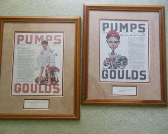 Framed Norman Rockwell Limited Edition Numbered Print, Set of 2, Goulds Pumps, 1920 and 1921