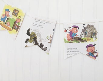 the three little pigs book party decoration banner garland