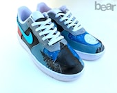 Custom Nike Shoes Hand Painted - Wolf, Full Moon, and Pine Trees Painting