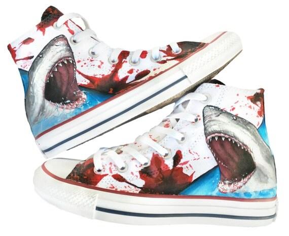 Custom Great White Shark Shoes Hand Painted Custom Converse