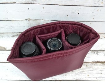 Water resistant Burgundy Camera Bag DSLR, photograhers gear, Cabernet camera insert for purse or backpack by Darby Mack, in stock