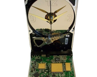 FREE SHIPPING! Hard Drive Clock with Laptop's Controller Circuit Board Accenting the Base. Need Office Gift?