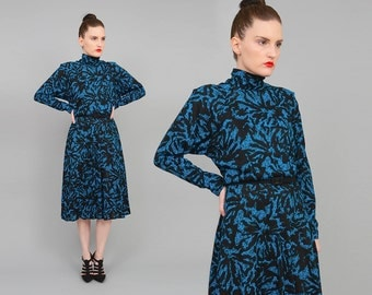 Vintage 80s Abstract Turtle Neck Knit Dress Sweater Knit Dolman Sleeve A-line Midi Dress Black Teal Small XS S