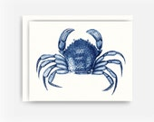 Blue Crab Note Card, Nautical Greeting Card, Sea Animal Note Card, Blank Greeting Card, Note Card A2